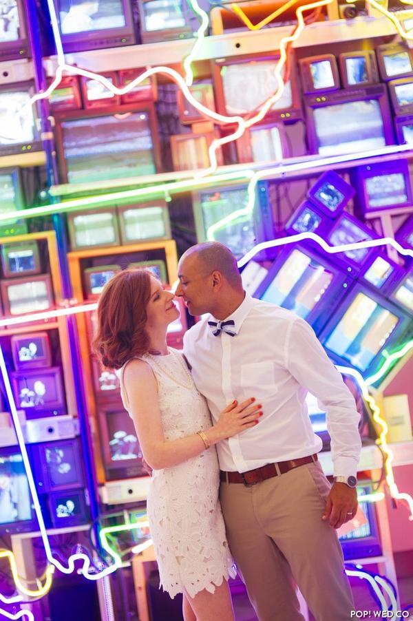 Maryclaire Abowd and Mostafa Farid say their vows at the American Art Museum.