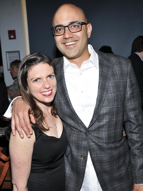Director Kimberly Senior and playwright Ayad Akhtar pose for a photo on the opening night of <em>The Who & the What.</em>