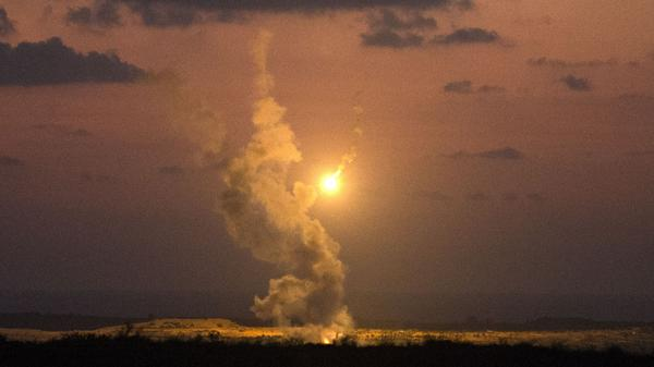 Israeli army flares fall into Gaza on Monday, the seventh day of the current fighting between Israel and Palestinians.