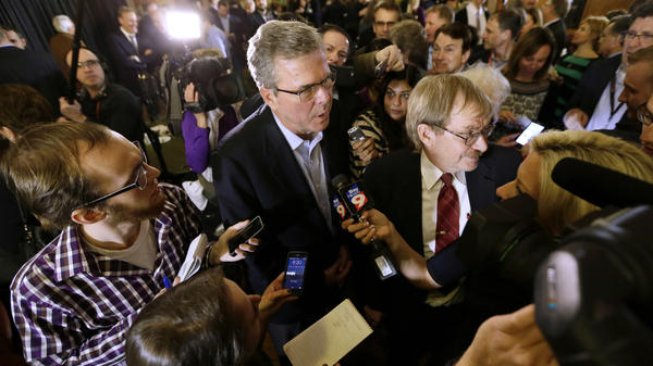 Former Florida Gov. Jeb Bush speaks to members of the media during a two-day swing through Iowa that had all the trappings of a presidential campaign.