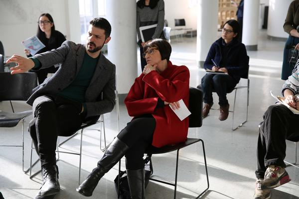 Architecture professor Diana Agrest evaluates her students' work during a class critique at Cooper Union in New York.