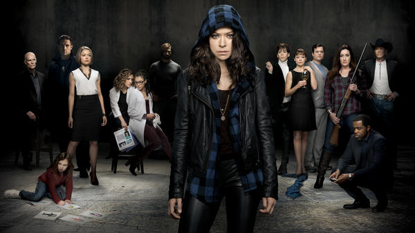 Tatiana Maslany (center) plays several different clones on the BBC America series <em>Orphan Black</em>.