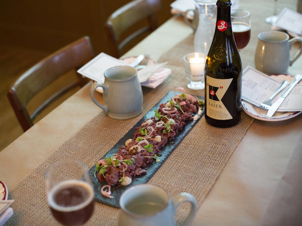 The Brooklyn Brewery served venison tartare for a dinner party inspired by the local cuisine of Dutch settlers and Native Americans in the 1650s.