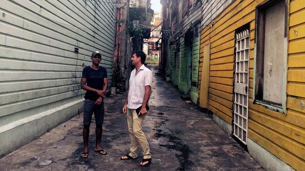 Former gang member Ricky James (left) and developer K.C. Hardin in Casco Viejo.