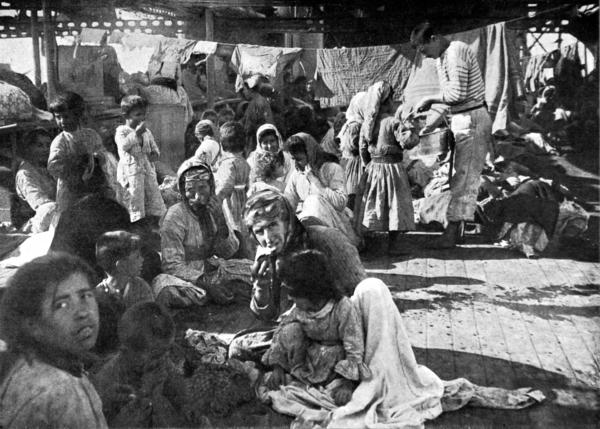 Armenian refugees on the deck of the French cruiser that rescued them in 1915 during the massacre of the Armenian populations in the Ottoman Empire. The photo does not specify precisely where the refugees were from. However, residents of Vakifli, the last remaining Armenian village in Turkey, were rescued by a French warship that year.