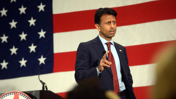 Louisiana Gov. Bobby Jindal speaks at the First in the Nation Republican Leadership Summit in New Hampshire.