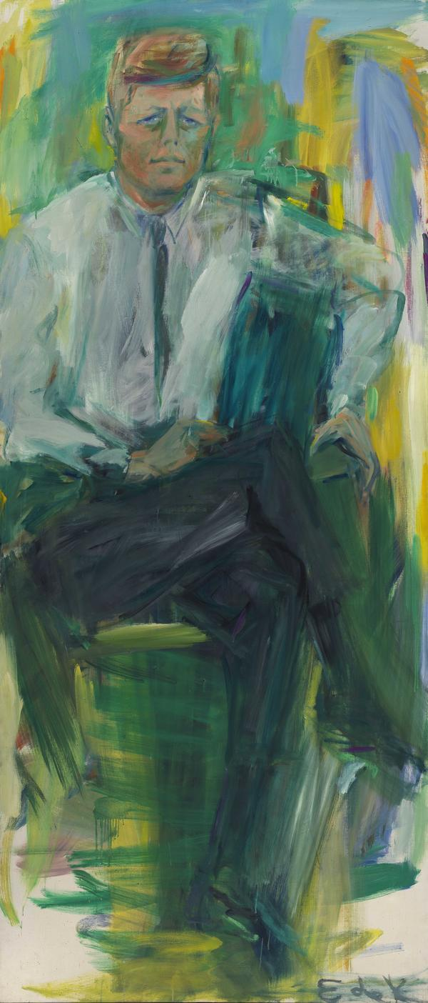 "De Kooning says she remembers ""scampering up and down the ladder"" working on her larger-than-life painting of Kennedy."