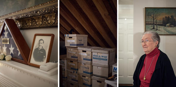 Relics from Nat Schnurman's activism still decorate the family home where his wife, Joy (pictured, far right), lives. Boxes of medical records — his and those of other veterans — fill the attic, along with handwritten notes and appeals to the VA.