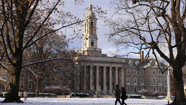 The Penn State University campus in State College, Pa. A new state law requires university professors to get a background check every three years and have their fingerprints taken.