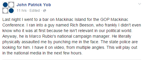 John Yob's Facebook post.
