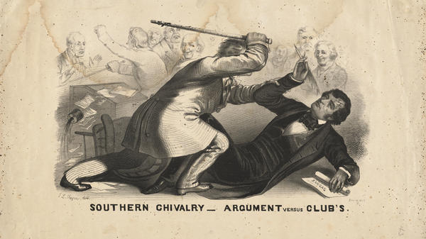 This 1856 drawing depicts Rep. Preston Brooks of South Carolina beating Sen. Charles Sumner of Massachusetts in one of the bloodiest political fights in history.