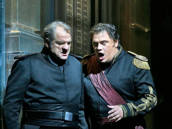 Aleksandrs Antonenko (right) will be the Met's first tenor to forego skin darkening makeup to play the lead role in Verdi's <em>Otello</em>.