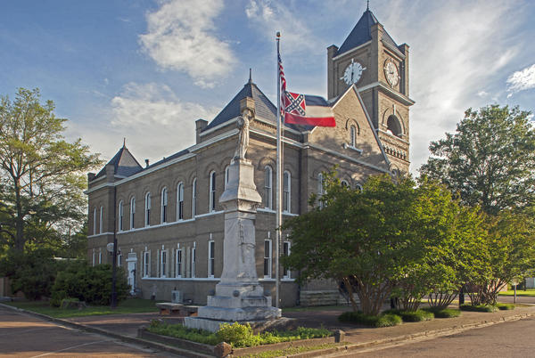 The courthouse in Sumner, Miss., where, in 1955, an all-white jury acquitted two white men in Till's murder. A debate rages in Mississippi over the state flag, which includes the Confederate flag. But it still flies at the courthouse.