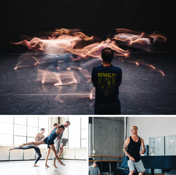 Top: Choreographer John Heginbotham watches his dancers rehearse at the Baryshnikov Arts Center. Bottom left: Dancers in the Stephen Petronio Company rehearse (from front to back: Jaqlin Medlock, Gino Grenek, Emily Stone and Joshua Tuason). Bottom right: Choreographer Stephen Petronio demonstrates an idea to his dancers.