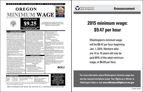 Minimum wage noticed for Oregon and Washington