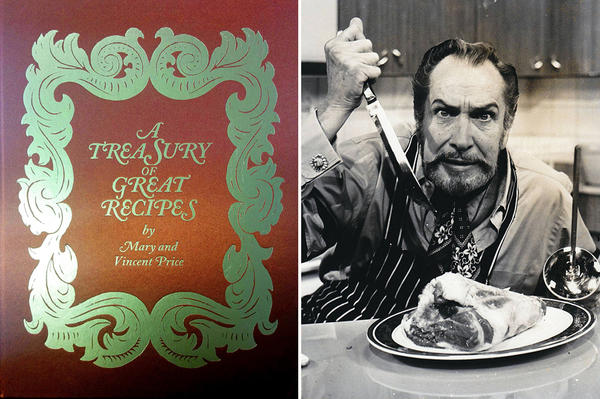 Famous horror film actor Vincent Price also co-wrote a best-selling cookbook in the 1960s with his then-wife, Mary. The original cover of the book, <em>A Treasury Of Great Recipes,</em> is seen at left. It's just been reissued.