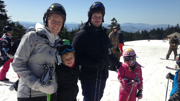 Paige and Bjorn Bellenbaum pose while on a skiing trip with their two kids, Max, 9, and Ella, 7. After Paige sought help for what she learned was postpartum depression, the Bellenbaums say they feel stronger now.