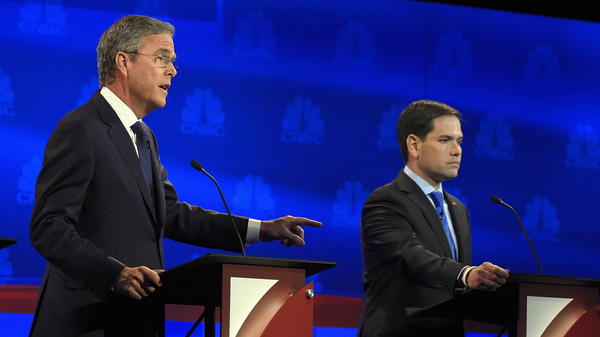 Jeb Bush (left) and Marco Rubio at the CNBC Republican presidential debate Wednesday. Their battling of late is leaving some Florida Republicans with an uncomfortable choice.