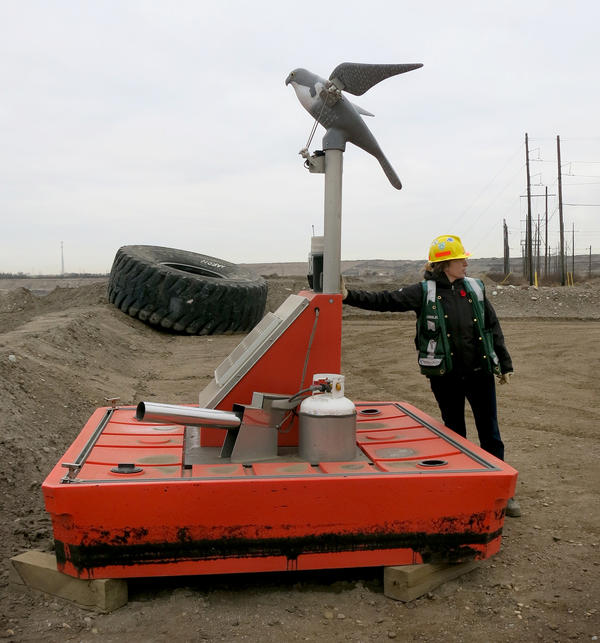 Ainslie Campbell, environmental sustainability manager for Shell's oil sands operation, demonstrates a device to keep migrating birds out of grimy water that collects at reclamation sites.