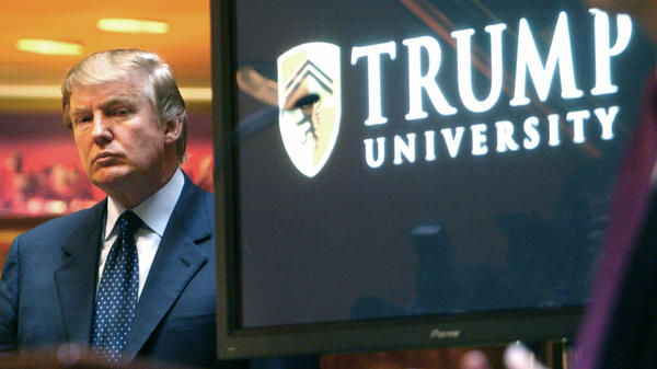 Donald Trump announcing the start of his Trump University venture in 2005.