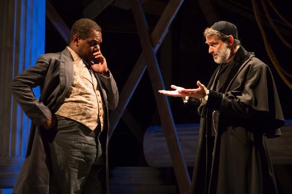 "Antoine (Craig Wallace, left) is <em>District Merchants'</em> Antonio, whose ""pound of flesh"" lender Shylock (Matthew Boston) is after."