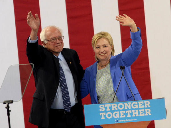 Sen. Bernie Sanders, I-Vt Bernie Sanders and Presumptive Democratic presidential nominee Hillary Clinton appear together at Portsmouth, N.H. High School where Sanders endorsed Clinton for president of the United States.