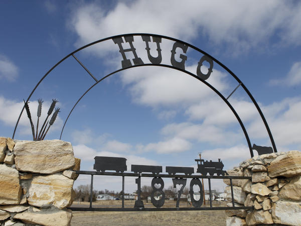 An old city sign sits on the edge of Hugo, Colo., in 2011. Officials have lifted an advisory it had instituted after tests revealed the presence of THC in the town's water supply. Further tests have turned out negative.
