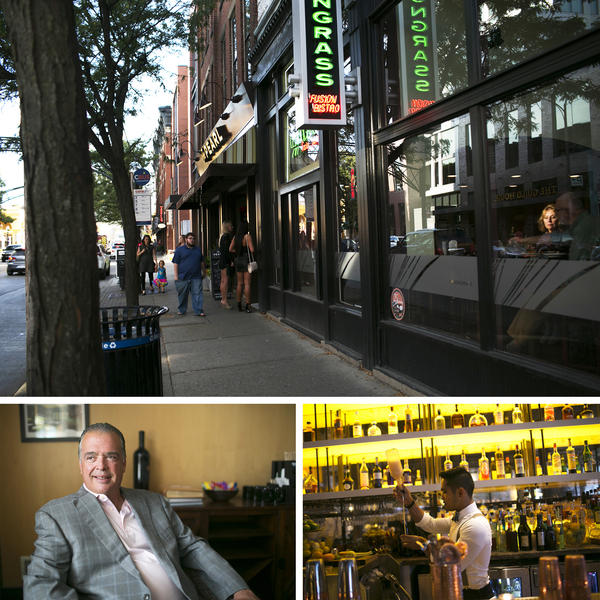 (Top) People walk by The Pearl, a restaurant owned by Cameron Mitchell, in the Short North neighborhood. (Left) Cameron Mitchell owns several restaurants in Columbus. (Right) A bartender prepares a drink at Mitchell's restaurant, The Guild House.