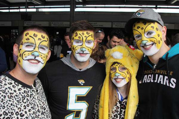 Fans from the English city of Reading don Jacksonville Jaguars onesies to cheer on the team, which has committed to playing games in London through at least 2020.
