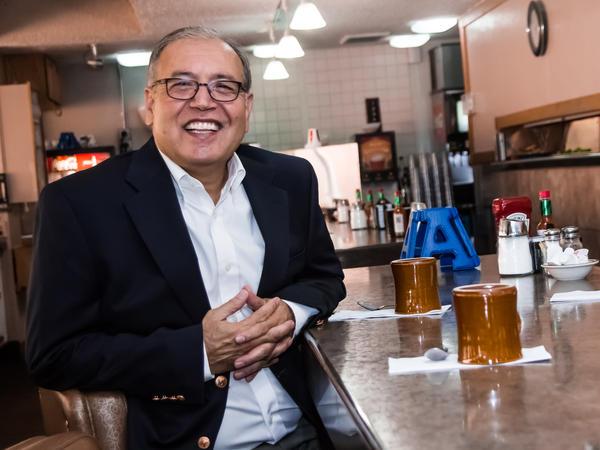 Saboor Sahely at his restaurant, Angie's, in Logan, Utah.