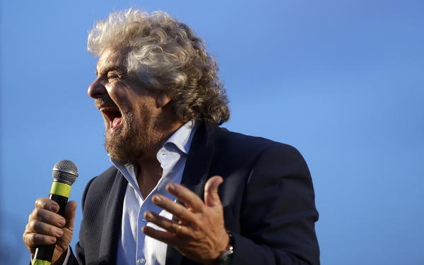 "The leader of Italy's opposition Five-Star Movement, Beppe Grillo, calls for a ""no"" vote in Sunday's referendum at a Nov. 26 rally."