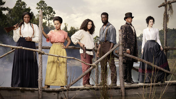 Aisha Hinds (at left) will play Harriet Tubman in the second season of WGN America's <em>Underground</em>, alongside (left to right) <em></em>Amirah Vann, Jurnee Smollett-Bell, Aldis Hodge, Alano Miller and Jessica de Gouw.