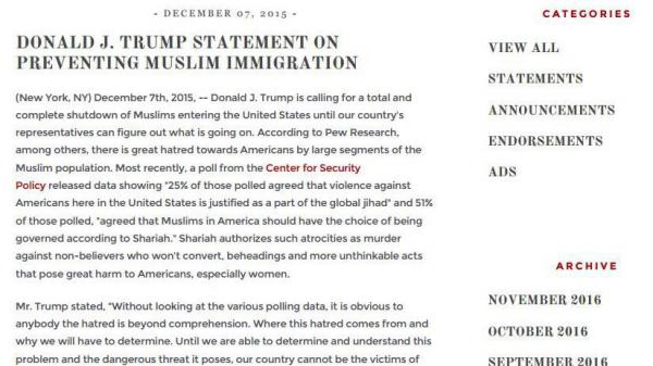 An exhibit in Washington state's lawsuit cited President Trump's plan to ban Muslims, a pledge made in December of 2015.