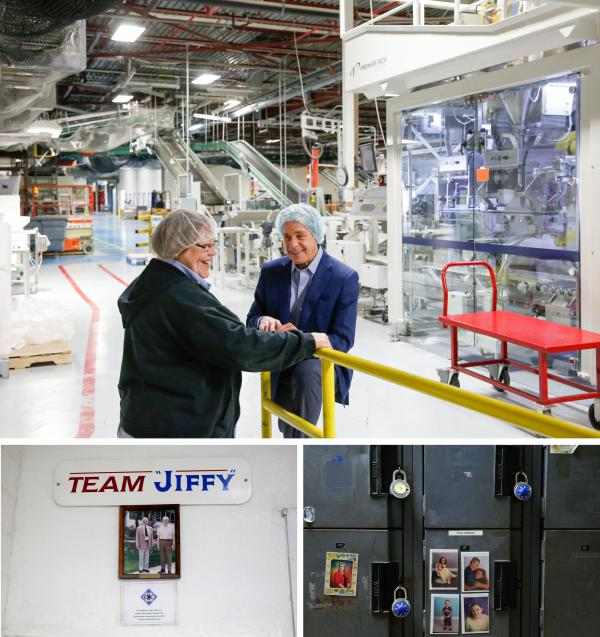 (Top) Howdy Holmes talks with employee Sandy Parker on the factory floor. Parker started working at Jiffy when she was 24 years old, nearly 38 years ago. (Bottom left) Historical photos line the walls of the factory entrance. (Bottom right) Employee lockers.