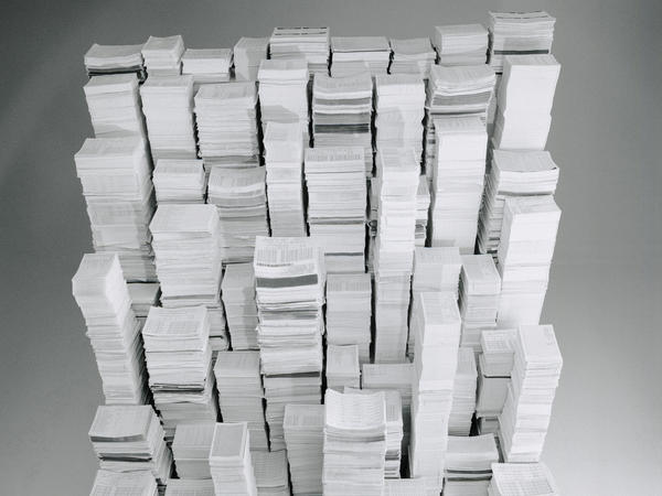 Giant stacks of paper.