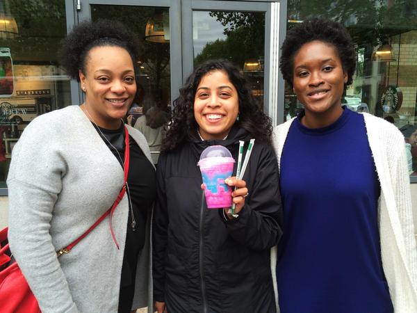 Letitia Winston (left), Lori Aquino, and Moriam Animashaun visited a Starbucks in Washington, D.C., to try the new Unicorn Frappuccino.