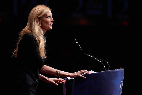 Conservative author and pundit Ann Coulter delivers remarks to the Conservative Political Action Conference in 2012 in Washington, DC.
