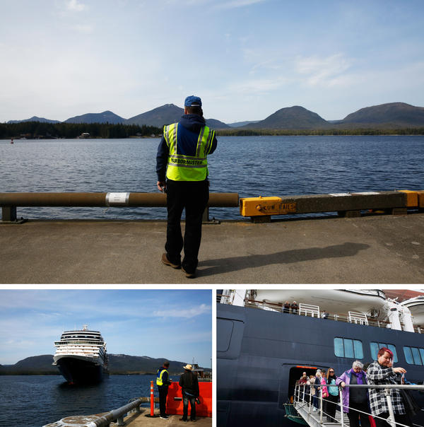 Top: Harbormaster Dave Dixon waits the morning's first cruise ship arrival. Bottom left: Holland America's Nieuw Amsterdam cruise ship arrives in Ketchikan. Bottom right: Passengers descend the gangplank, ready to begin their day on shore.
