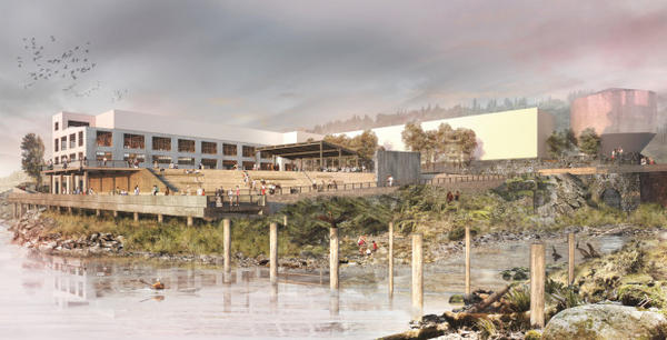 <p>A rendering of the riverwalk planned for the former Blue Heron Mill site, which overlooks Willamette Falls in Oregon City.</p>
