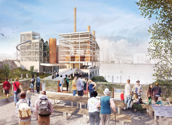 <p>The redevelopment of the former Blue Heron Mill site includes creating public overlooks along the south bank of the Willamette River.</p>