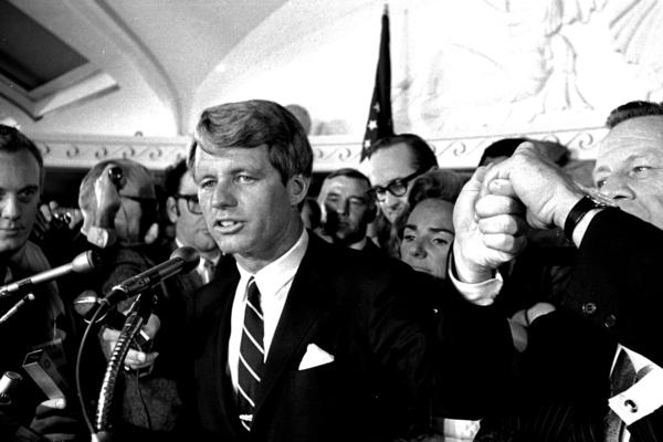 Sen. Robert F. Kennedy speaks at the Ambassador Hotel in Los Angeles on June 5, 1968. A moment later he turned into a hotel kitchen corridor and was fatally wounded.