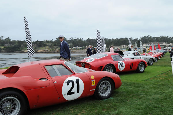 Ferrari race cars are lined up at dawn on Pebble Beach Golf Links' 18th green at during the 67th Pebble Beach Concours d'Elegance. California's Monterey Peninsula is home to the renowned car show that displays the most exotic, rare, and the most expensive cars in the world.