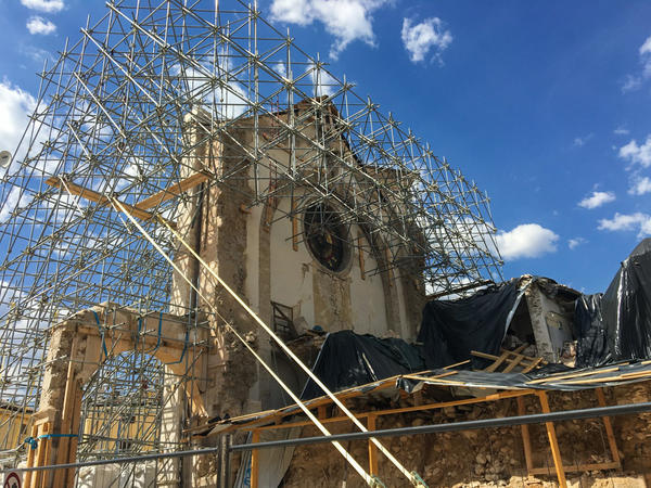 After an earthquake, all that stands of Norcia's 13th century basilica is the façade.