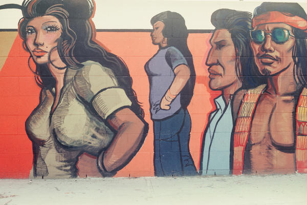 Sergio O'Cadiz Moctezuma created <em>Fountain Valley Mural</em> from 1974 to 1976 with residents of Fountain Valley, Ca., near Los Angeles. In 2001, the wall was razed and a new wall was built in its place.
