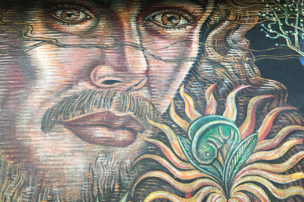 Detail of the Boyle Heights mural <em>No Greater Love, </em>which was painted by Paul Botello in 1992.