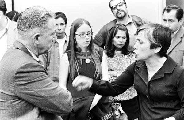 Community activists confront L.A. Board of Education administrator Ed Bonilla. Circa 1969.