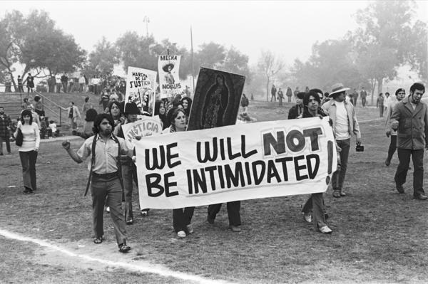 <em>Youth from South Central L.A. arrive at Belvedere Park for</em> La Marcha por la Justicia. January 31, 1971.