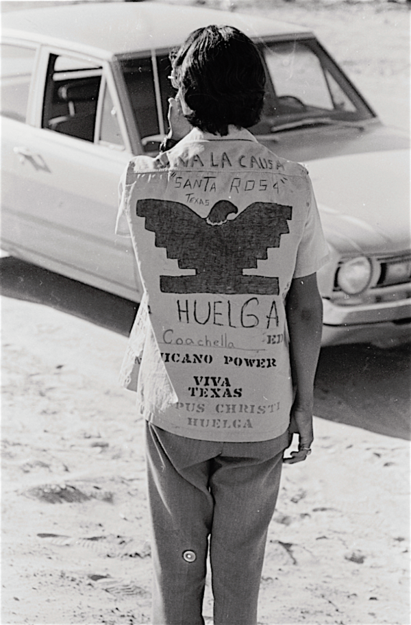 Youthful United Farm Workers of America supporter from Texas. Circa 1973.