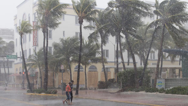 Winds hit Miami Beach on Saturday.