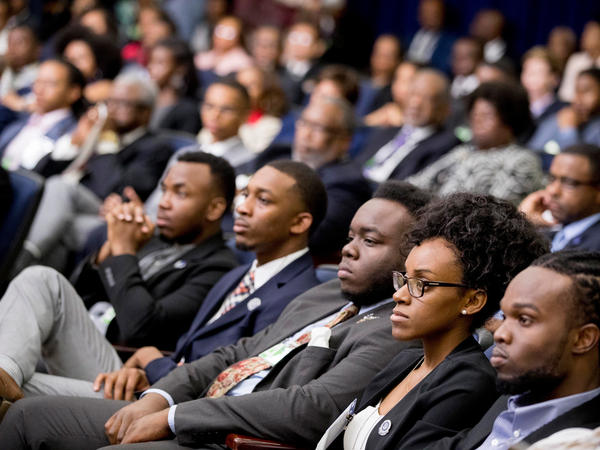 Members of the audience listen as Education Secretary Betsy DeVos speaks during the White House Summit on Historically Black Colleges and Universities at the White House yesterday.